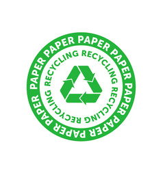 Recycling paper green circle badge with mobius vector