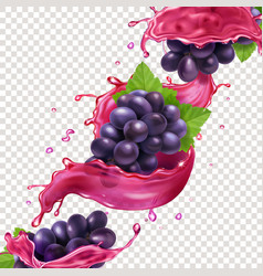 red wine or juice splash and grape brunch vector image