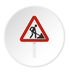Roadworks sign icon circle vector
