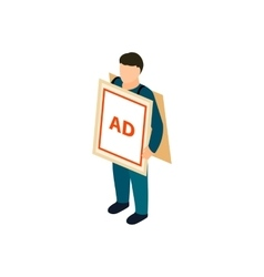 Sandwich board man icon isometric 3d style vector