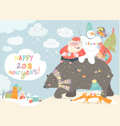 santa claus with snowman riding on the back of vector image