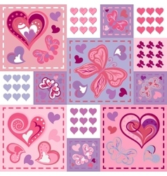 seamless background with butterflies hearts vector image