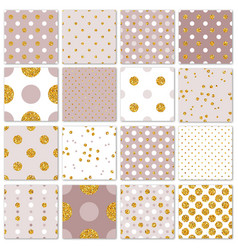 seamless patterns gold polka dots set vector image