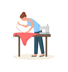 Seamstress leaned over table and hemming red cloth vector