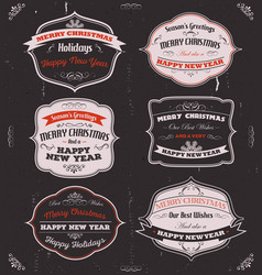 seasons greetings banners badges and frames vector image
