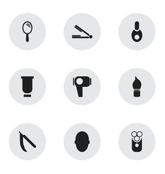 set of 9 editable barber icons includes symbols vector image
