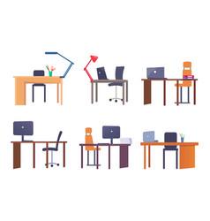 set of empty workplaces desks vector image