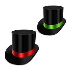 Set of gentleman hat cylinder with ribbon vector