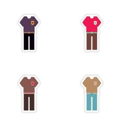 Set of paper stickers on white background trousers vector
