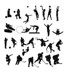 set of sports people silhouettes collection vector image