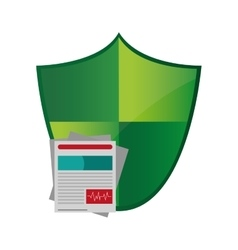Shield and medical history icon vector