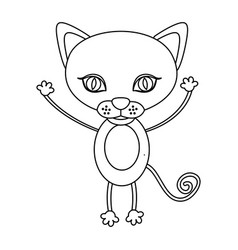 Silhouette picture cute cat animal vector