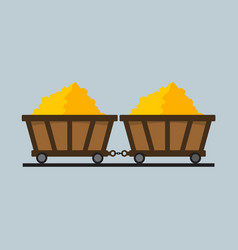 simple flat style train of gold mining graphic vector image