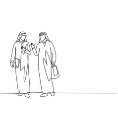 Single continuous line drawing young muslim vector