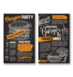 Sketch burger fast food restaurant posters vector