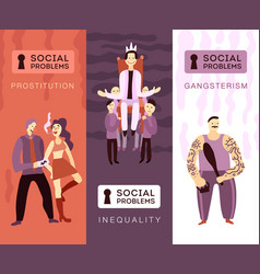 Social problems vertical banners vector