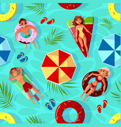 Summer pool seamless pattern vector