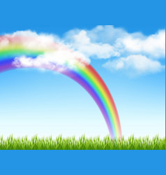 sunny background green grass blue sky with clouds vector image
