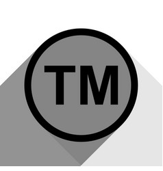 Trade mark sign black icon with two flat vector
