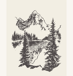 two mountains spruce forest and lake sketch vector image