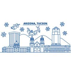 usa arizona tucson winter city skyline merry vector image