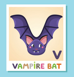 v is for vampire bat letter v vampire bat cute vector image