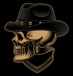 Vintage of cowboy skull in hat with bandana vector