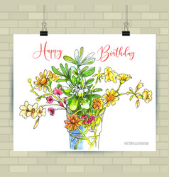 watercolor painting bunch flowers in a vase vector image