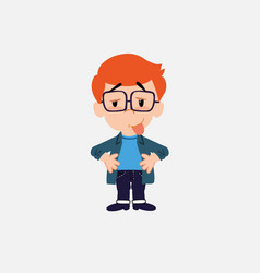 White boy with glasses in waiting attitude with vector