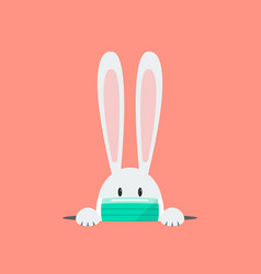 white rabbit wearing a protective mask vector image