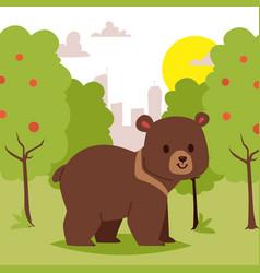Wild cartoon animal bear walking in green area vector