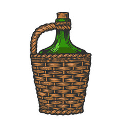 wine bottle carboy color sketch engraving vector image
