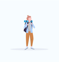 woman tourist hiker with backpack standing pose vector image