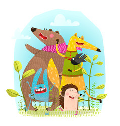 bear fox hedgehog rabbit and crow funny friends vector image vector image