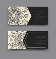 Black and white business card mandala vector image