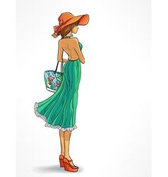 Elegant slender girl in hat vector image vector image