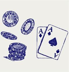 Gambling sketch vector image vector image
