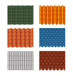 seamless pattern set of roof tiles vector image