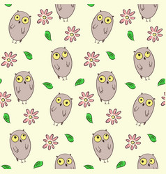 seamless pattern with cute owls and flowers vector image vector image