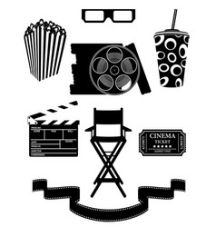 set cinema icons black silhouette outline stock vector image