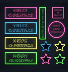 christmas neons frame on dark background vector image