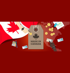made in canada price tag badge export vector image