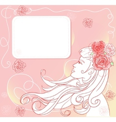 Pink floral template with stylish woman vector image vector image