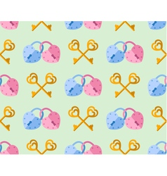 Seamless pattern from padlock couple key couple vector