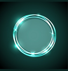 abstract background with green neon circles banner vector image vector image