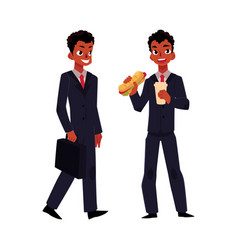 black african businessman going to work eating vector image vector image