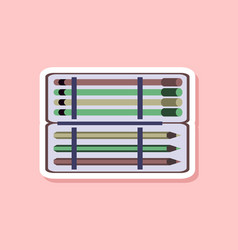 paper sticker on stylish background pencil box vector image