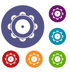 tambourine icons set vector image