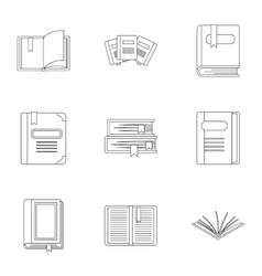 Textbooks icons set outline style vector image vector image