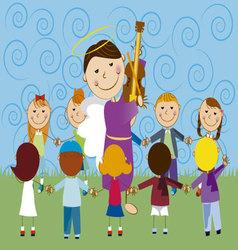 angel with children 2 vector image vector image